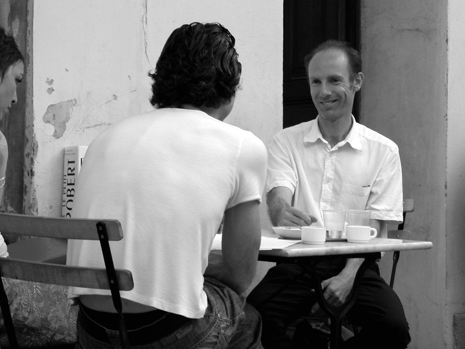 Discussion entre Christian Uetz et Denis Peiron à Marseille, Montévidéo 2005.
