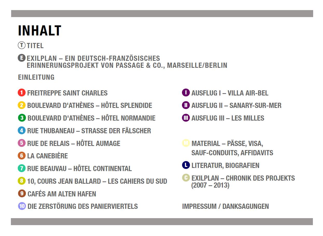 Inhaltsverzeichnis Exilparcours